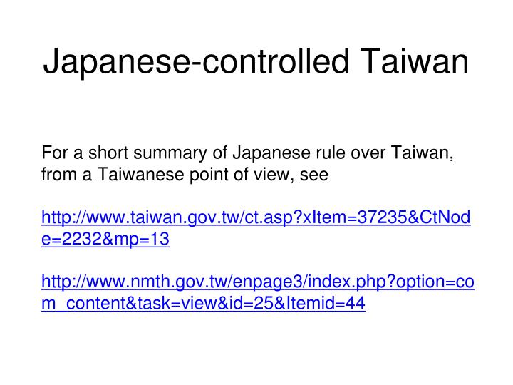 Japanese-controlled Taiwan