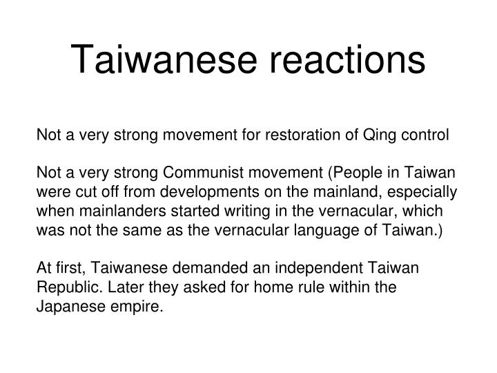 Taiwanese reactions