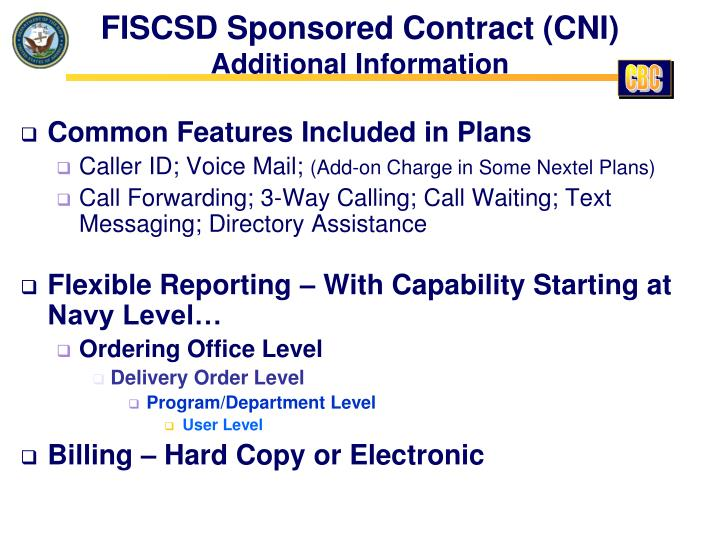 FISCSD Sponsored Contract (CNI)