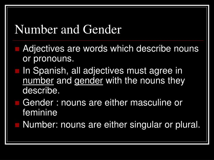 Number and Gender