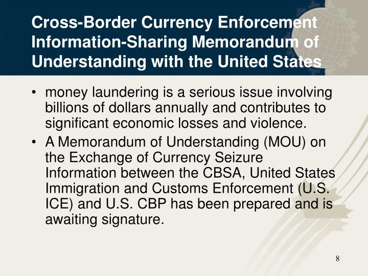 Cross-Border Currency Enforcement Information-Sharing Memorandum of Understanding with the United States