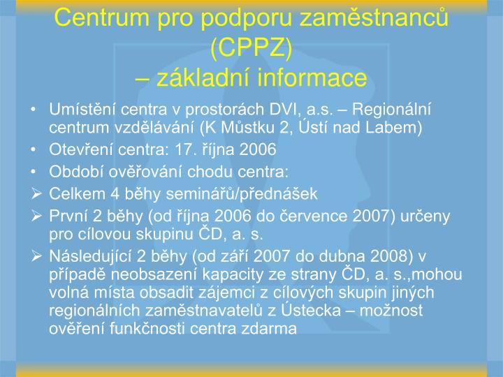 Centrum pro podporu zaměstnanců (CPPZ)