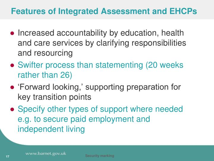 Features of Integrated Assessment and EHCPs
