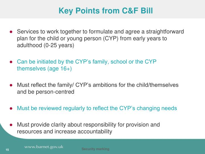 Key Points from C&F Bill