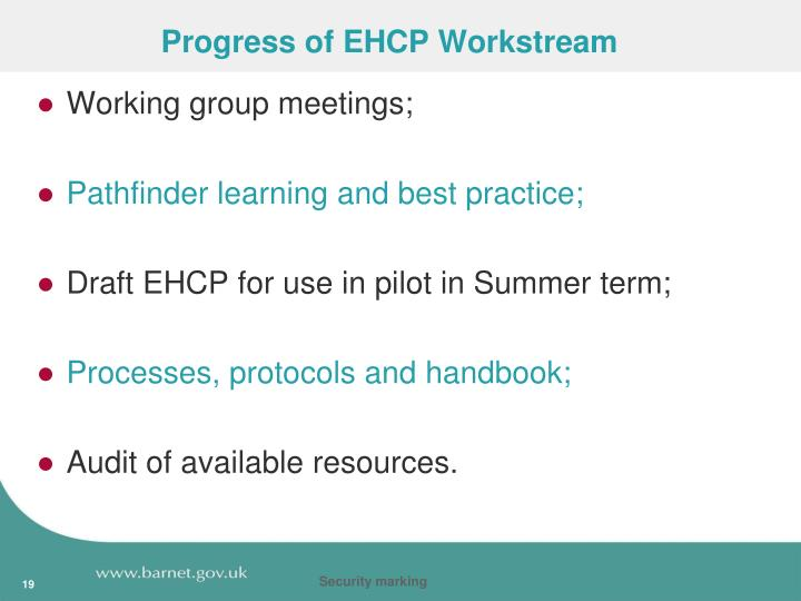 Progress of EHCP Workstream