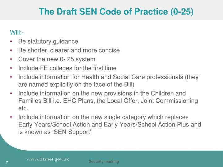 The Draft SEN Code of Practice (0-25)