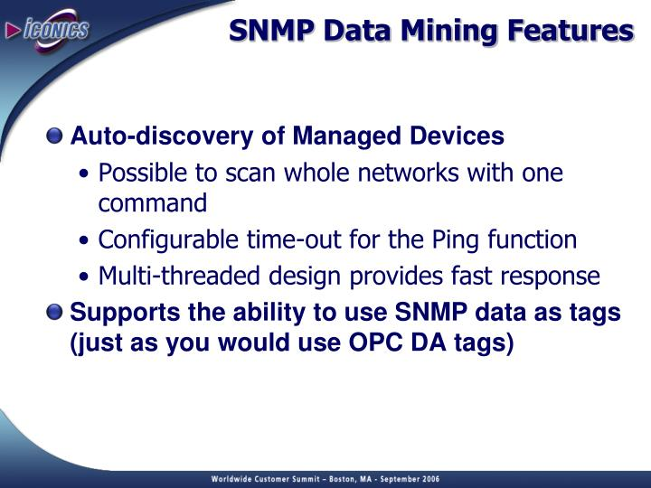 SNMP Data Mining Features