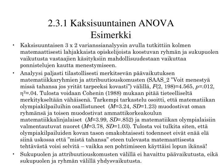 2.3.1 Kaksisuuntainen ANOVA