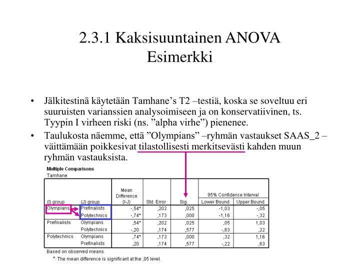 """Jälkitestinä käytetään Tamhane's T2 –testiä, koska se soveltuu eri suuruisten varianssien analysoimiseen ja on konservatiivinen, ts. Tyypin I virheen riski (ns. """"alpha virhe"""") pienenee."""