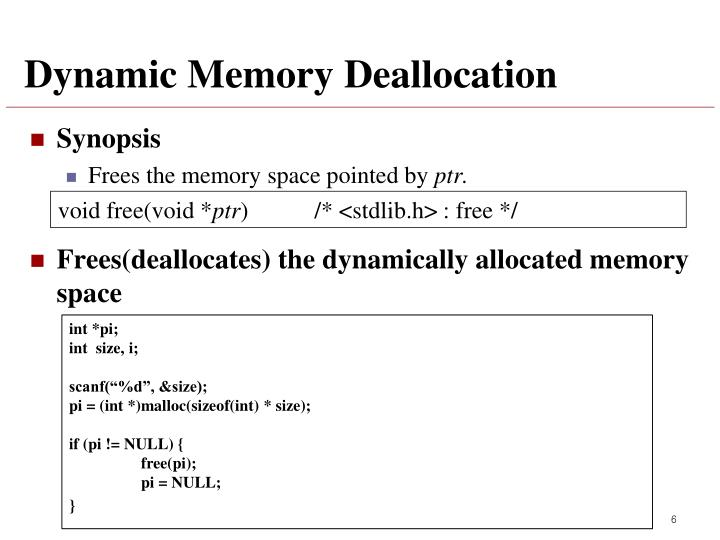 Dynamic Memory Deallocation