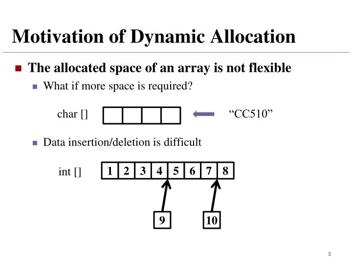 Motivation of dynamic allocation