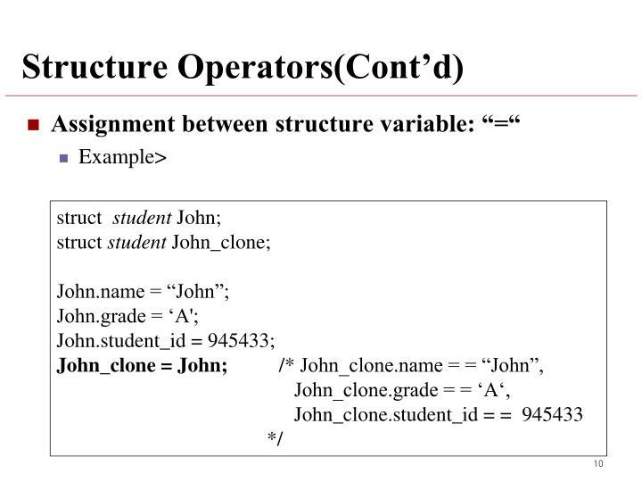 Structure Operators(Cont'd)
