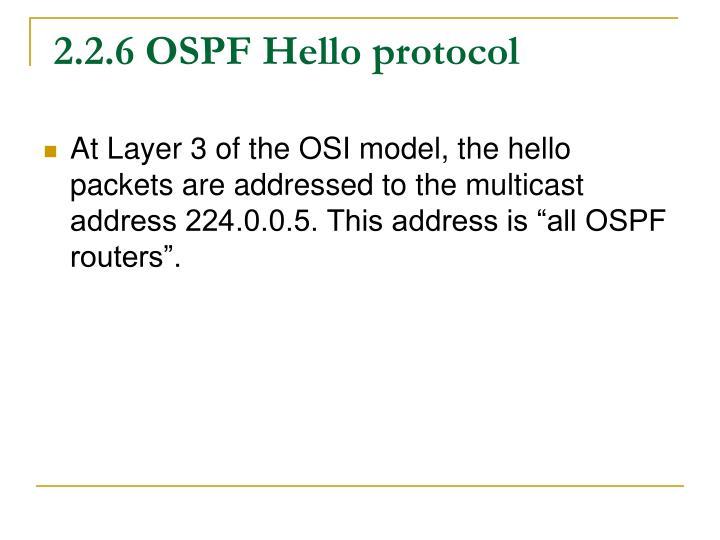 2.2.6 OSPF Hello protocol