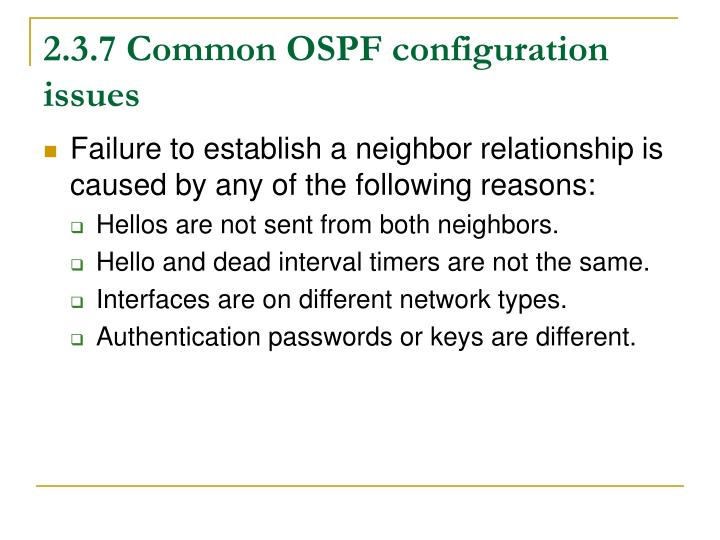 2.3.7 Common OSPF configuration issues