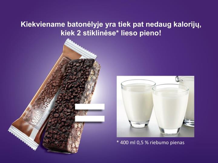 Kiekviename batonėlyje yra tiek pat nedaug kalorijų, kiek 2 stiklinėse* lieso pieno
