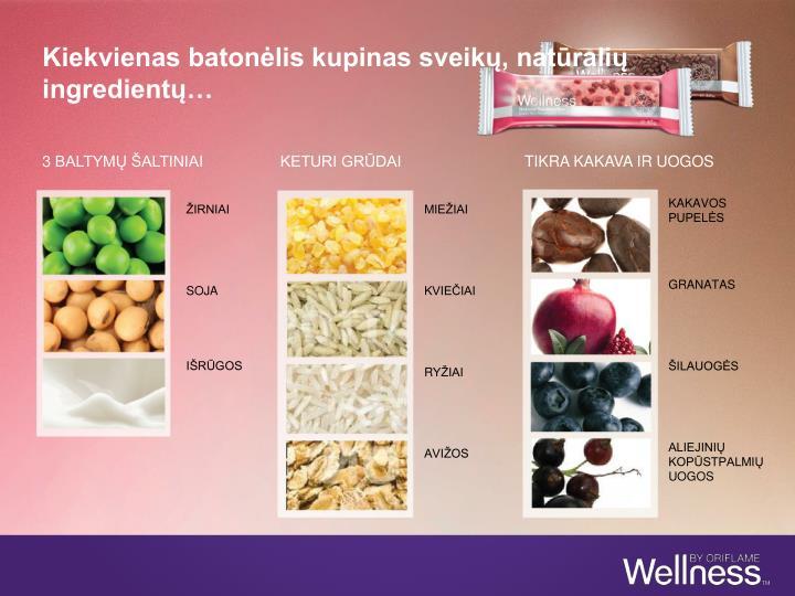 Kiekvienas batonėlis kupinas sveikų, natūralių ingredientų