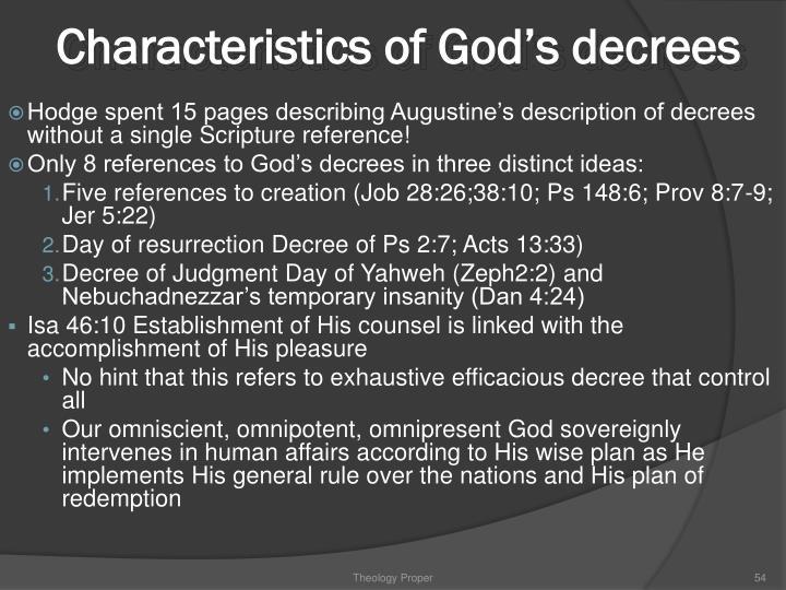 Characteristics of God's decrees