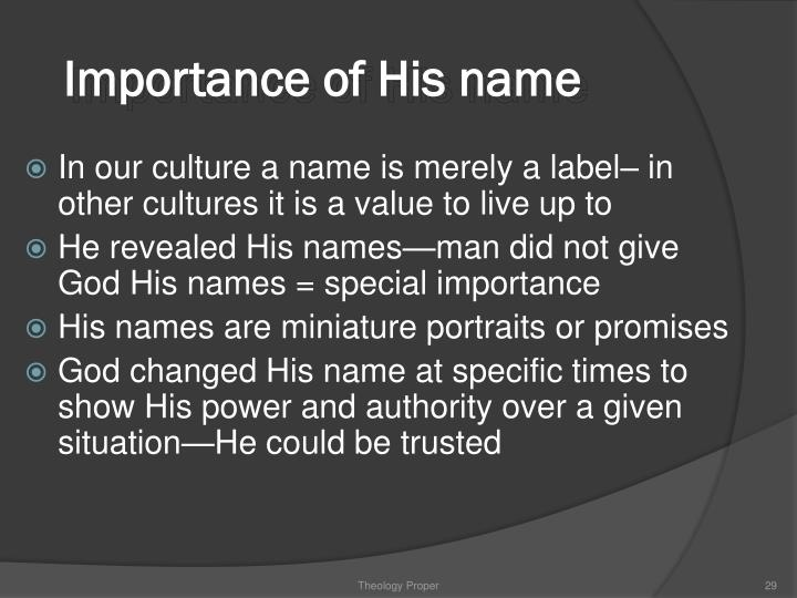 Importance of His name