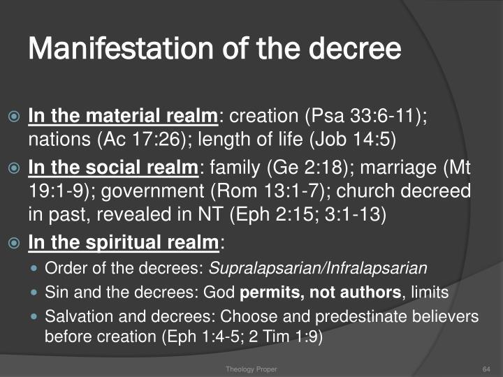 Manifestation of the decree