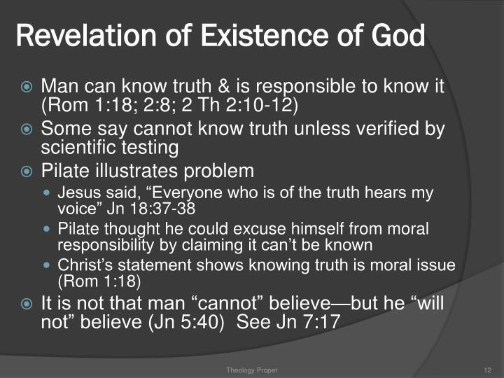 Revelation of Existence of God