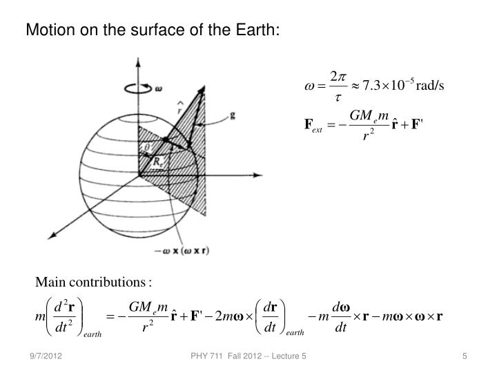 Motion on the surface of the Earth: