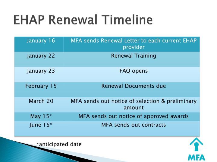 EHAP Renewal Timeline
