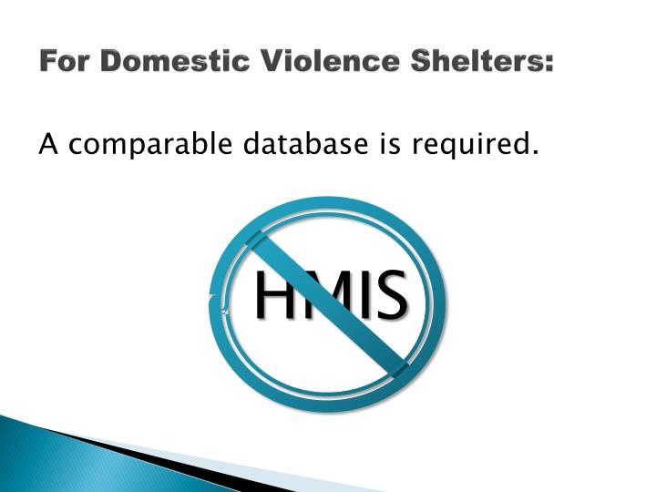For Domestic Violence Shelters: