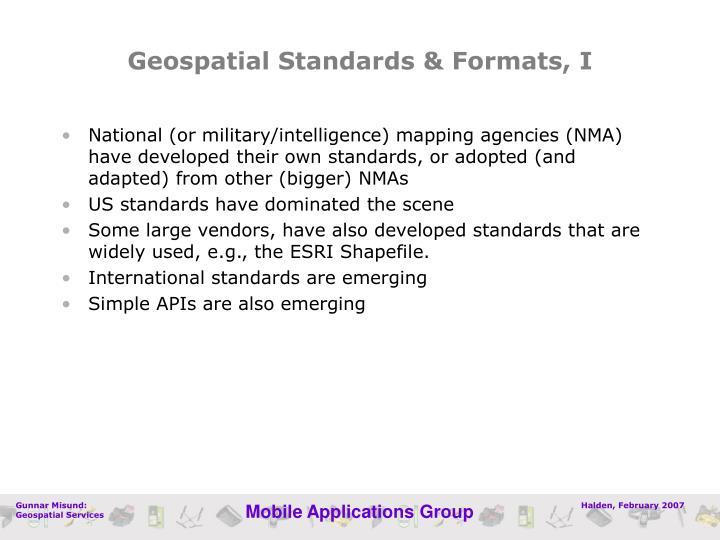 Geospatial Standards & Formats, I