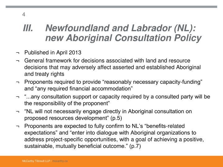 III.Newfoundland and Labrador (NL):