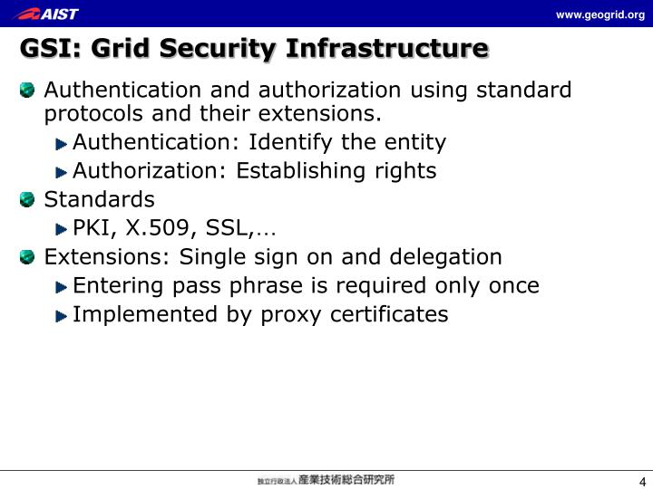 GSI: Grid Security Infrastructure