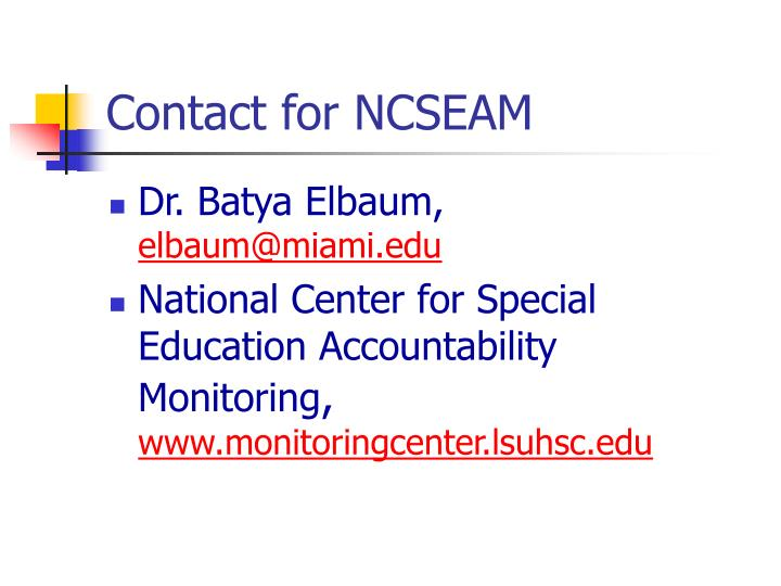 Contact for NCSEAM