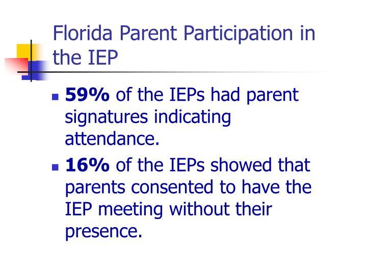 Florida Parent Participation in the IEP