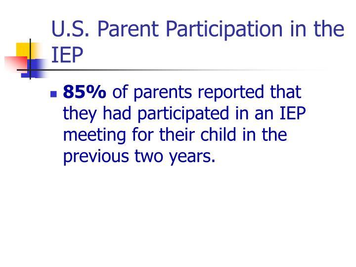 U.S. Parent Participation in the IEP