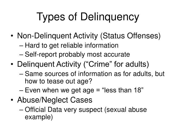 Types of delinquency
