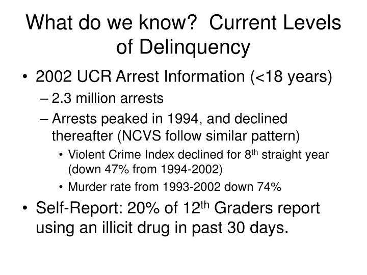 What do we know?  Current Levels of Delinquency
