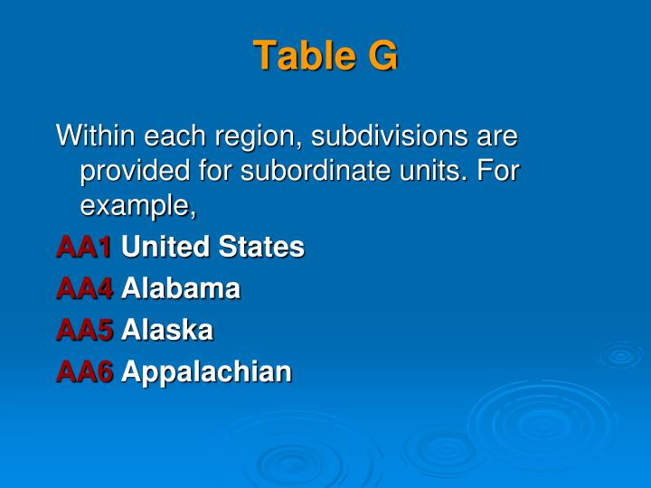 Table G