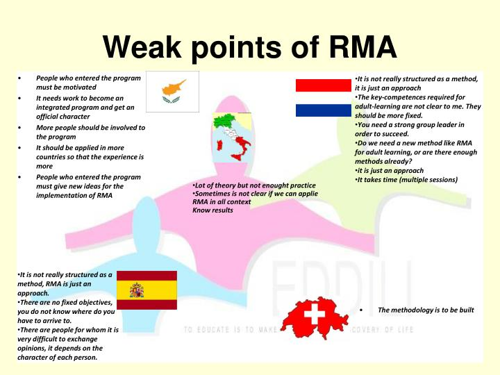 Weak points of RMA