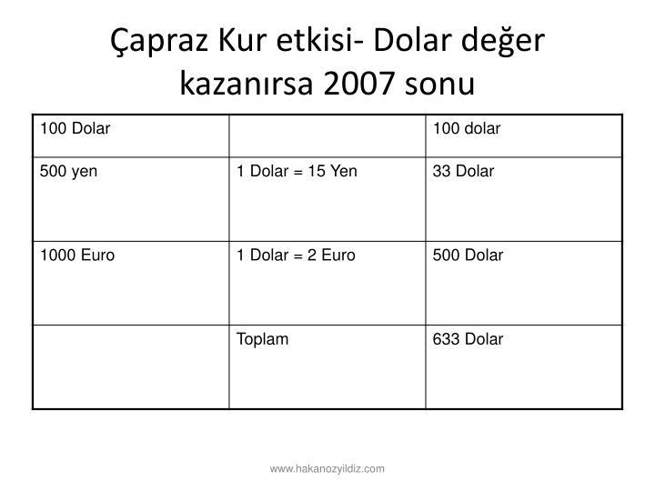 apraz Kur etkisi- Dolar deer kazanrsa 2007 sonu