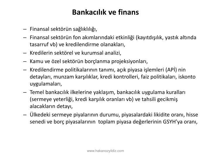 Bankaclk ve finans