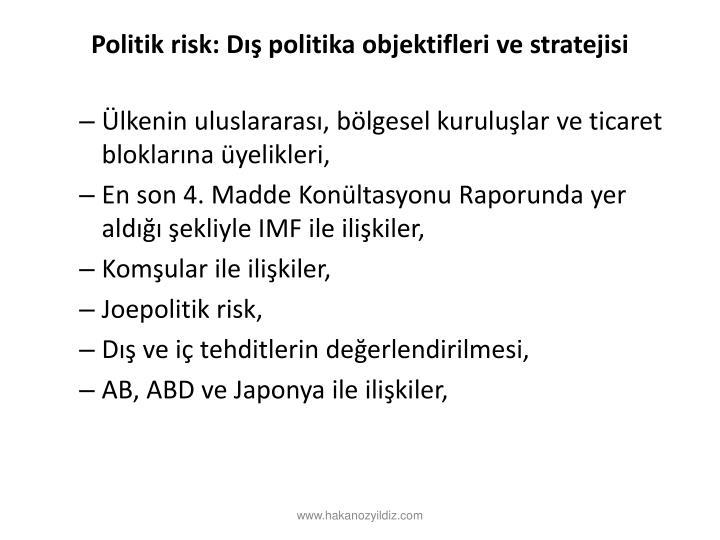 Politik risk: Dış politika objektifleri ve stratejisi