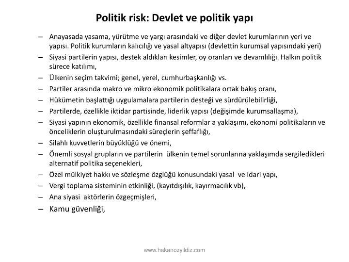 Politik risk: Devlet ve politik yap