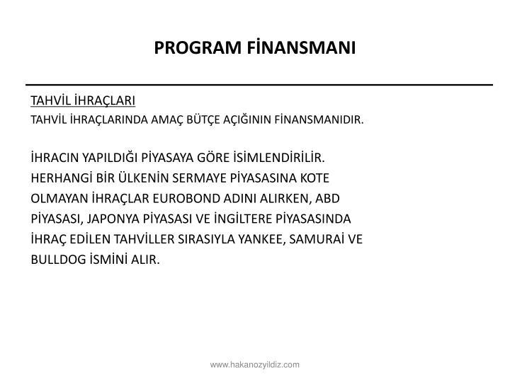 PROGRAM FİNANSMANI