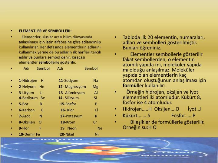 ELEMENTLER VE SEMBOLLERİ: