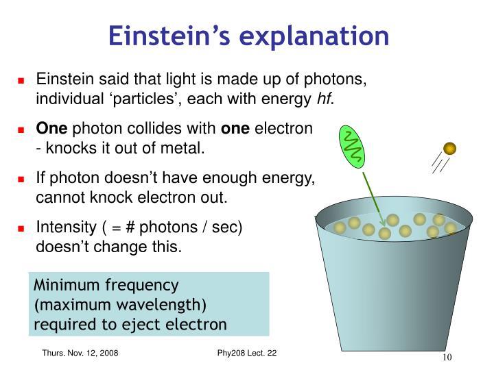 Einstein's explanation