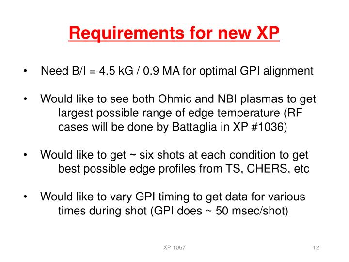 Requirements for new XP