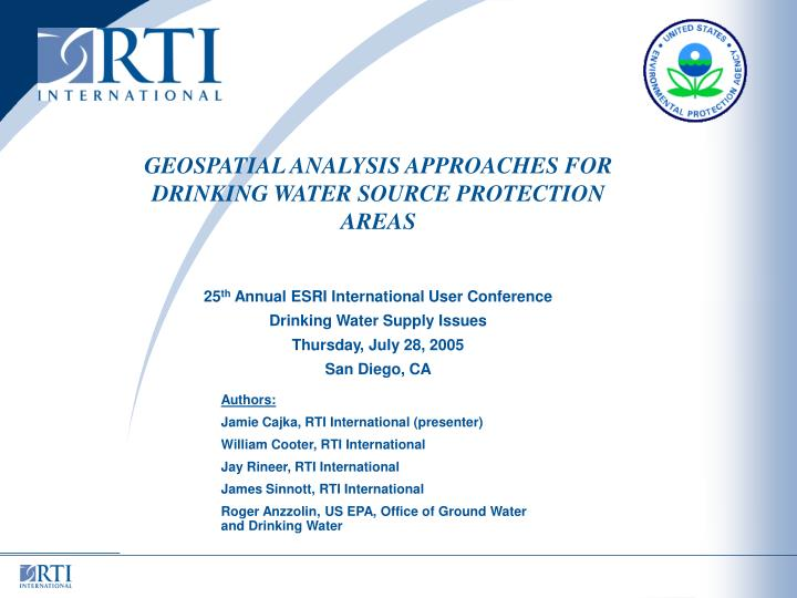 Geospatial analysis approaches for drinking water source protection areas