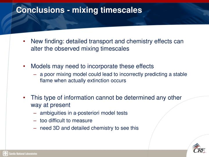 Conclusions - mixing timescales