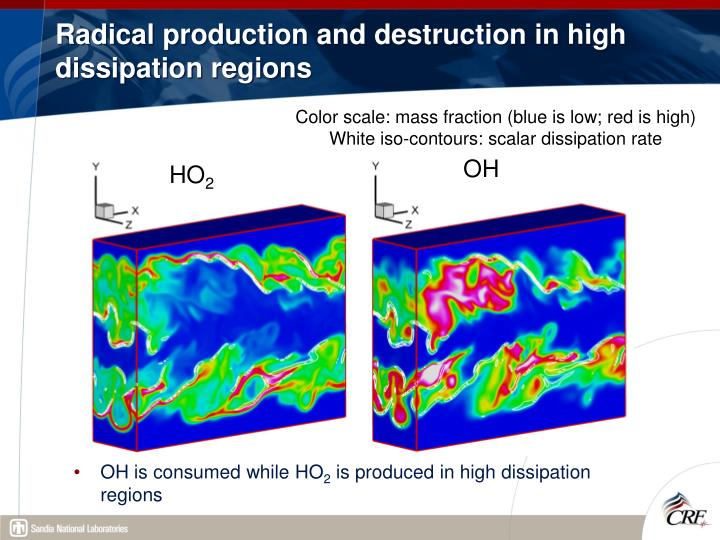 Radical production and destruction in high dissipation regions