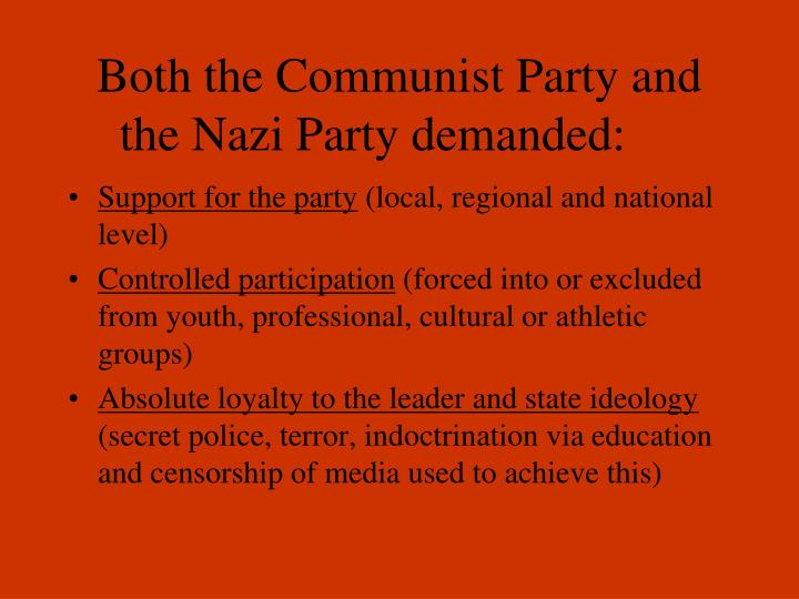 Both the Communist Party and the Nazi Party demanded: