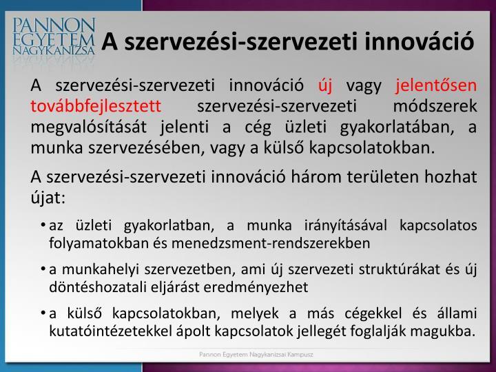 A szervezési-szervezeti innováció